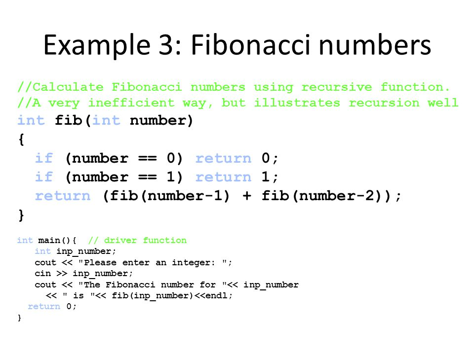 Example 3: Fibonacci numbers