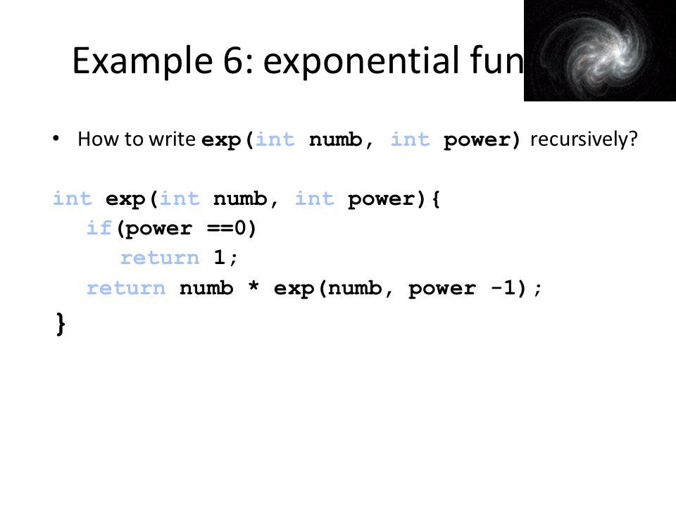 Example 6: exponential func