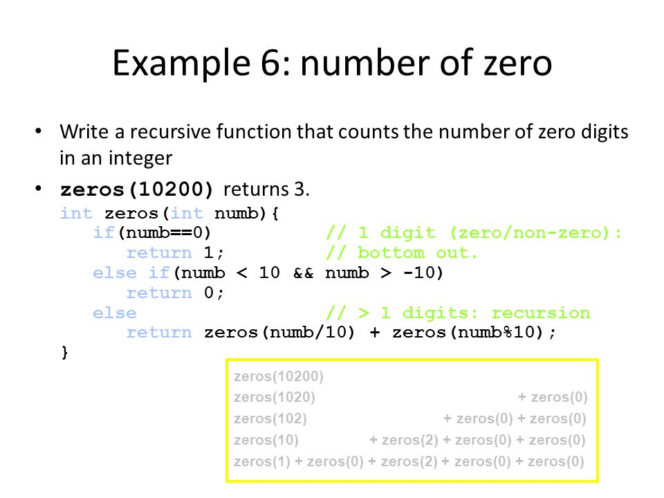 Example 6: number of zero