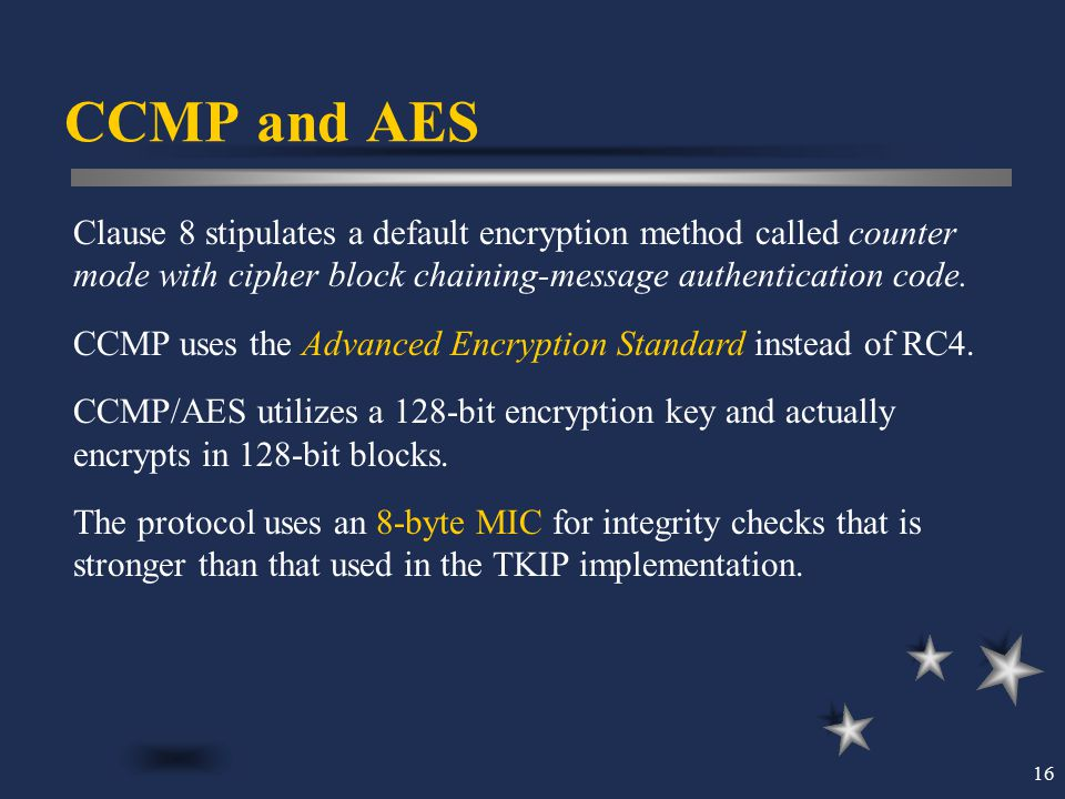 CCMP and AES Clause 8 stipulates a default encryption method called counter mode with cipher block chaining-message authentication code.