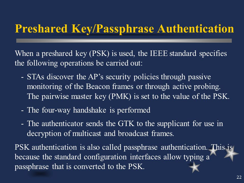 Preshared Key/Passphrase Authentication