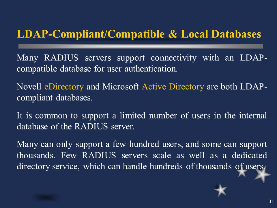 LDAP-Compliant/Compatible & Local Databases