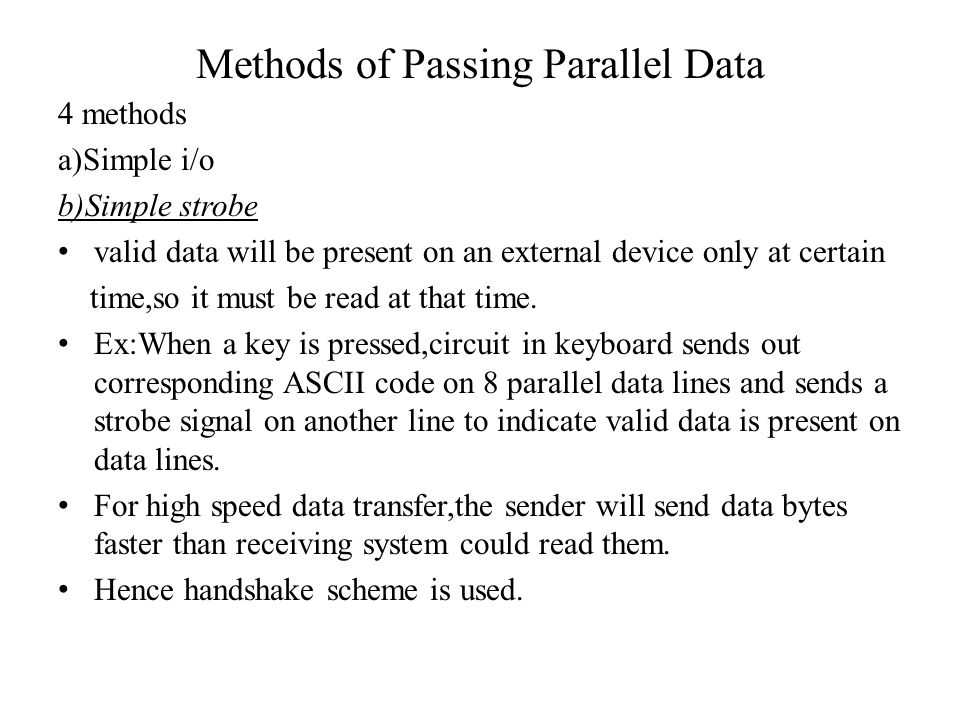 Methods of Passing Parallel Data