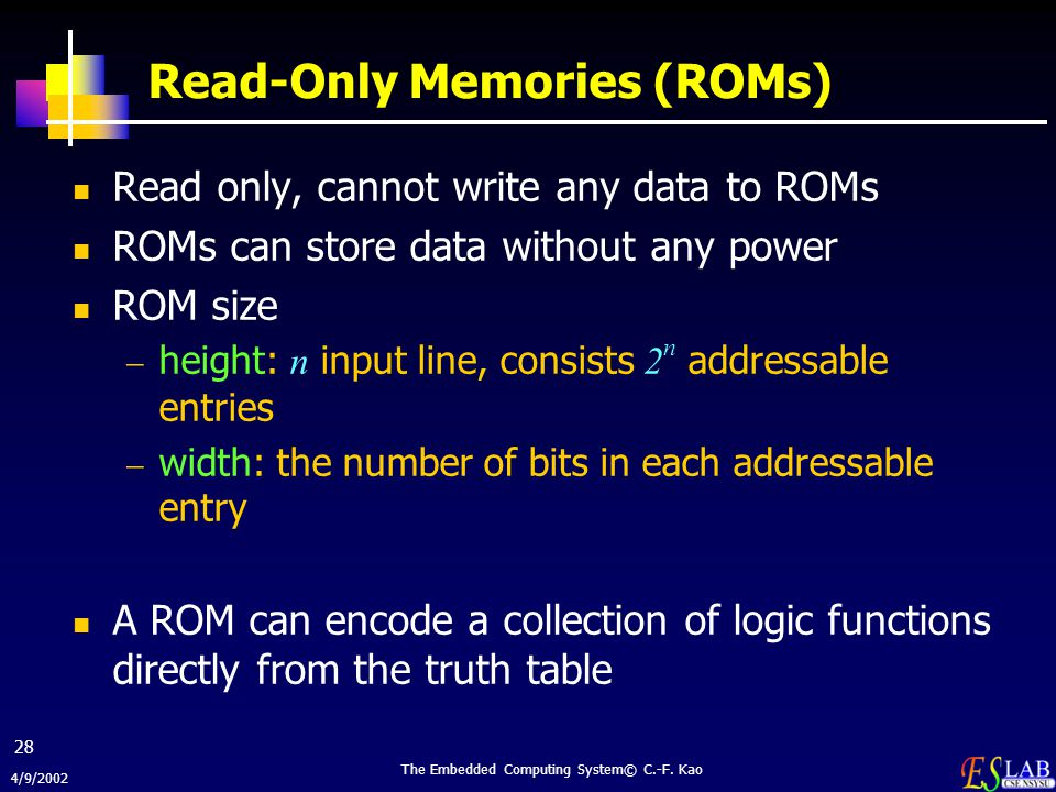 Read-Only Memories (ROMs)