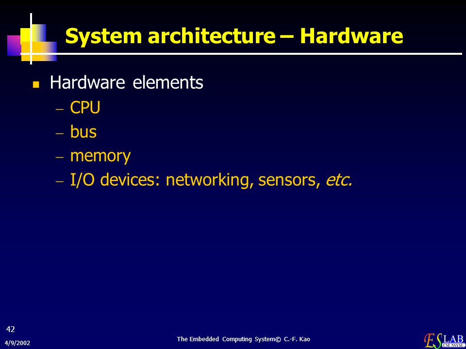 System architecture – Hardware