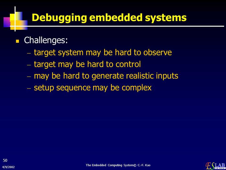 Debugging embedded systems