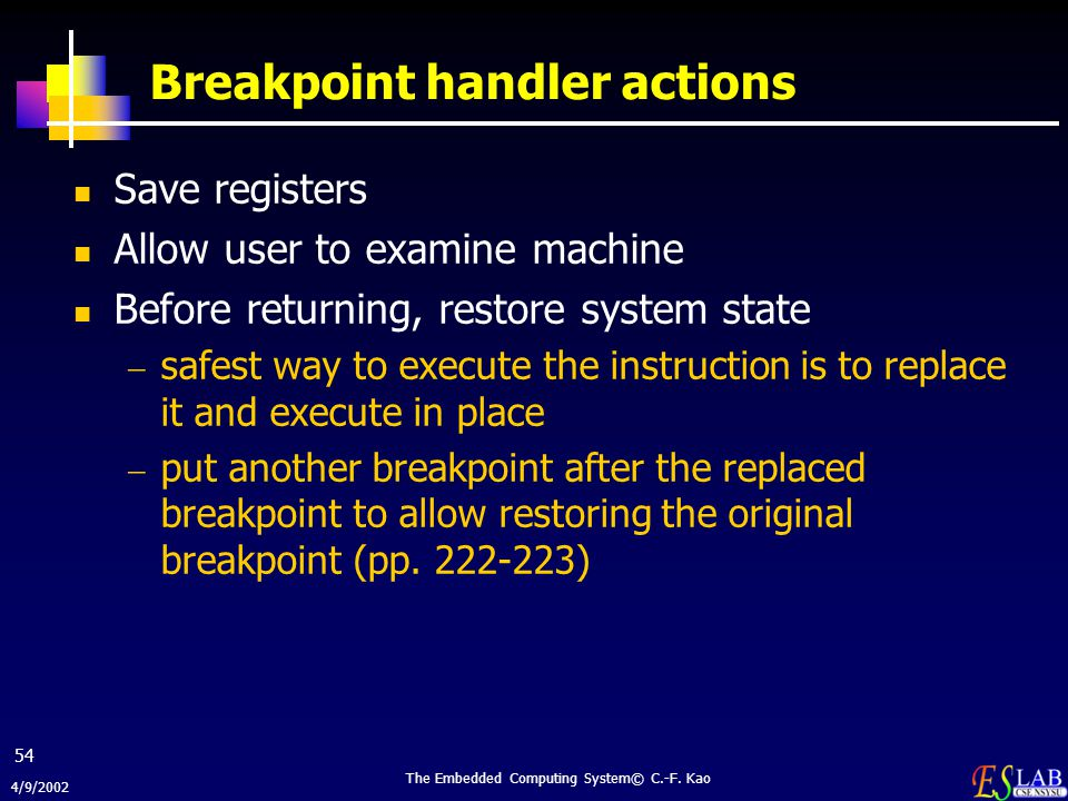 Breakpoint handler actions