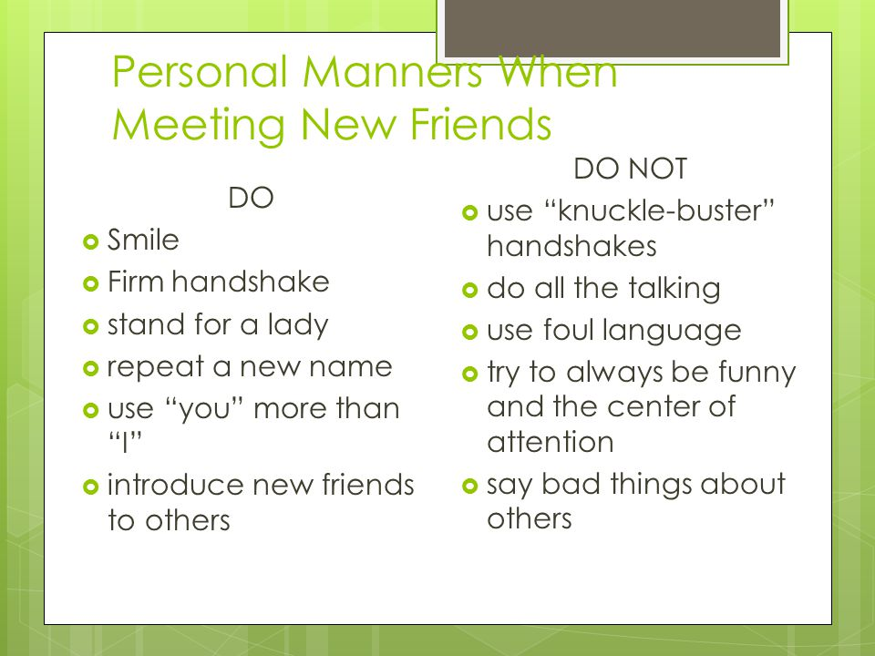Personal Manners When Meeting New Friends