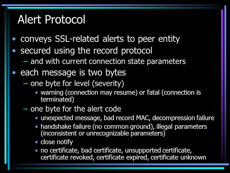 Alert Protocol conveys SSL-related alerts to peer entity
