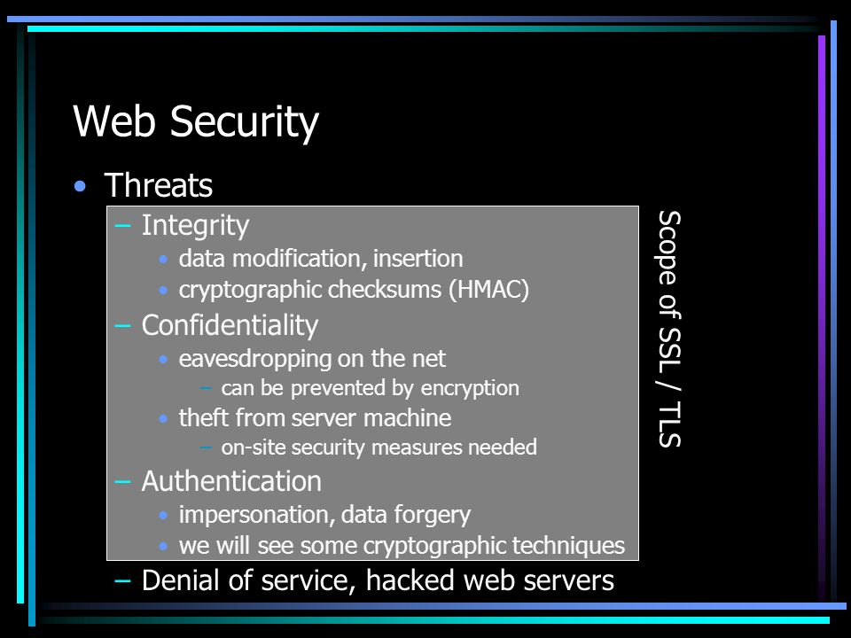Web Security Threats Integrity Scope of SSL / TLS Confidentiality
