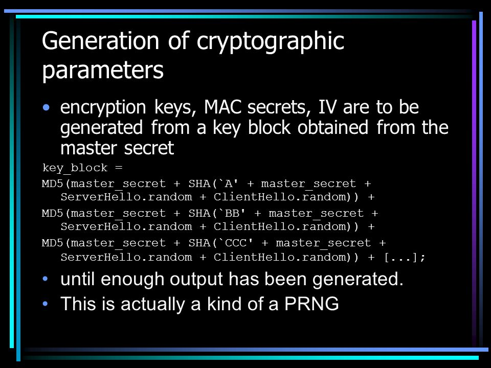 Generation of cryptographic parameters