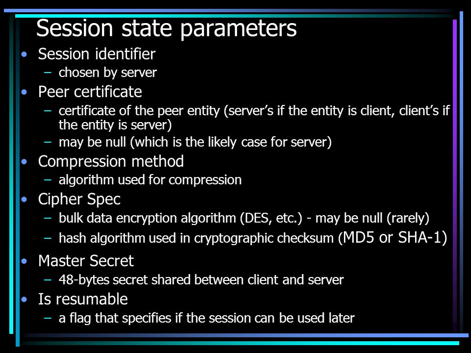 Session state parameters