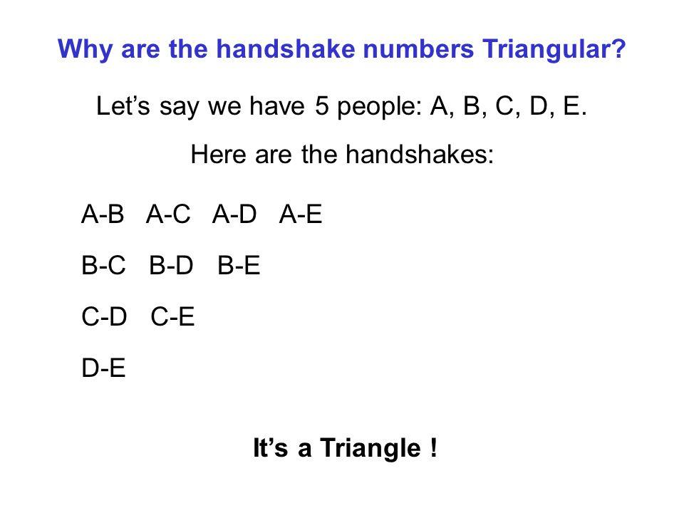 Why are the handshake numbers Triangular