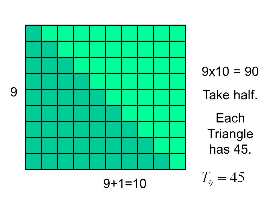 9x10 = 90 Take half. Each Triangle has 45. 9 9+1=10