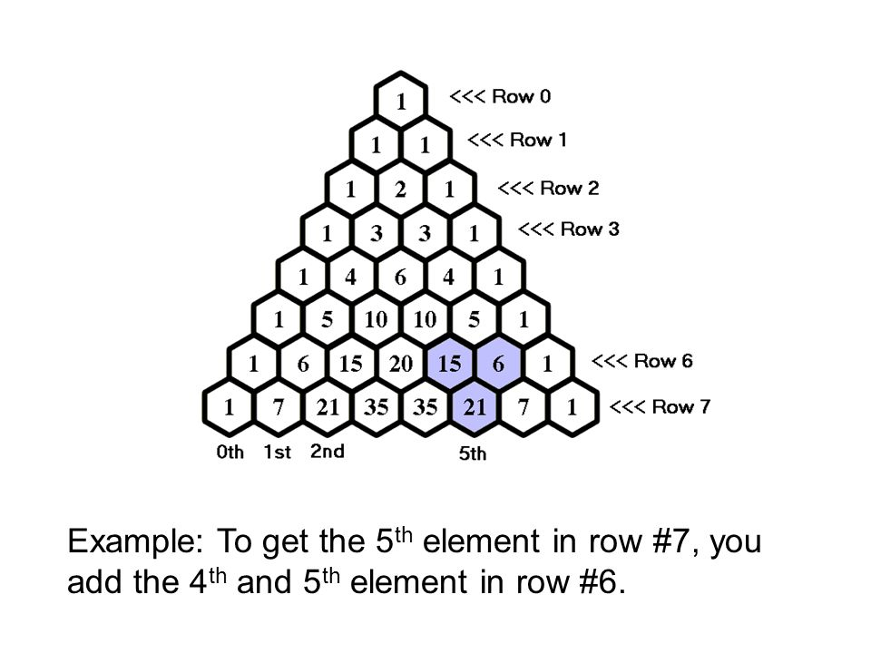 Example: To get the 5th element in row #7, you add the 4th and 5th element in row #6.
