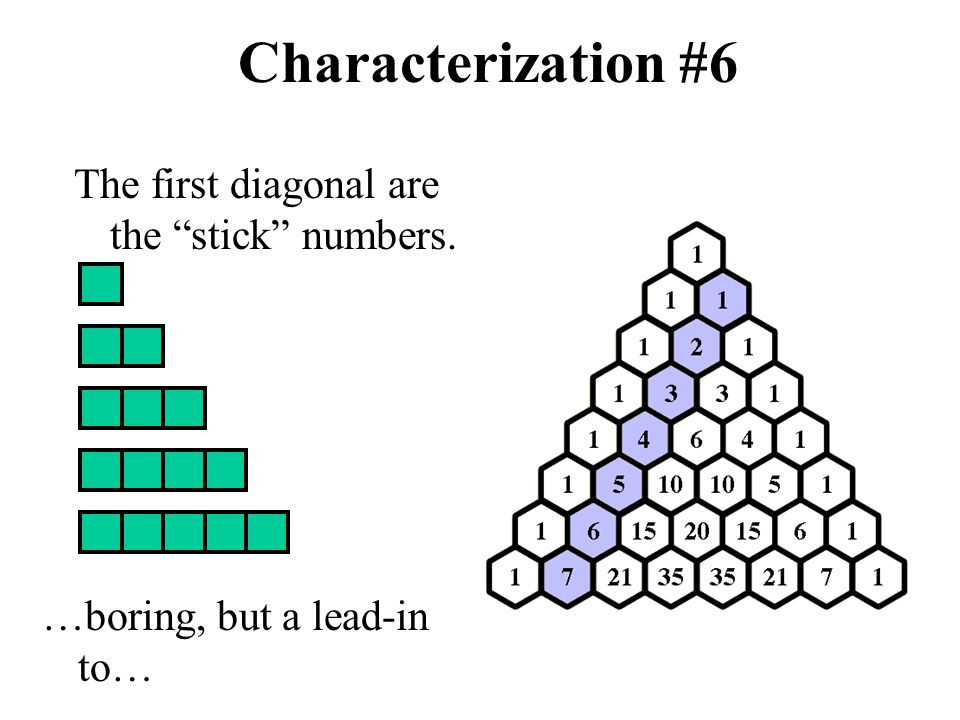 Characterization #6 The first diagonal are the stick numbers.