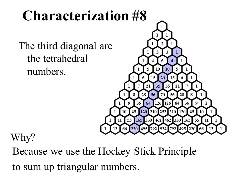 Characterization #8 The third diagonal are the tetrahedral numbers.