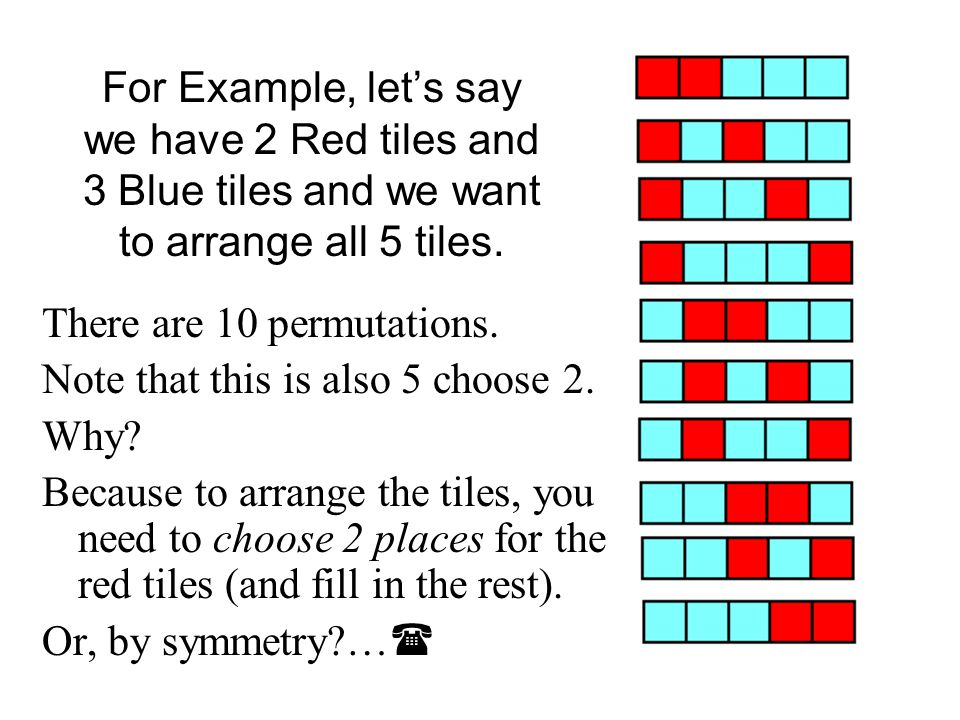 For Example, let's say we have 2 Red tiles and 3 Blue tiles and we want to arrange all 5 tiles.