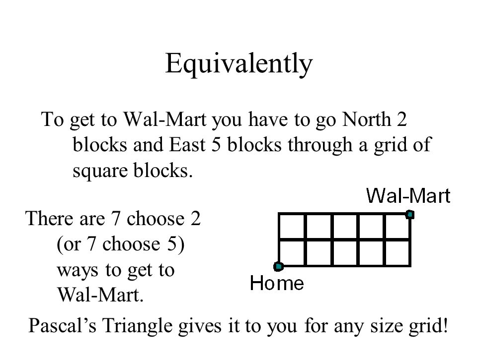 Pascal's Triangle gives it to you for any size grid!