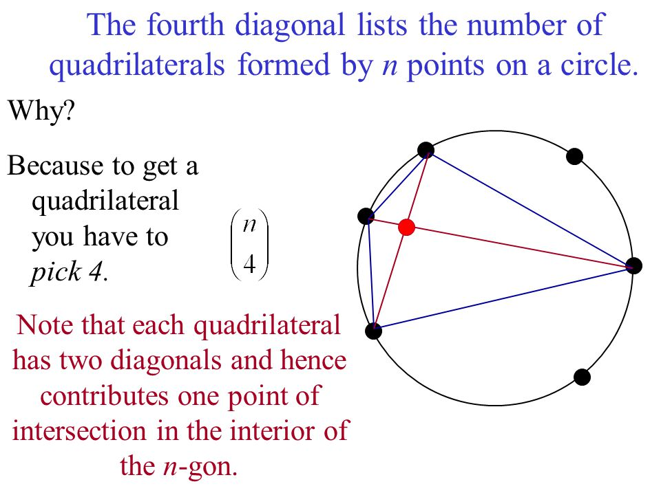 The fourth diagonal lists the number of quadrilaterals formed by n points on a circle.
