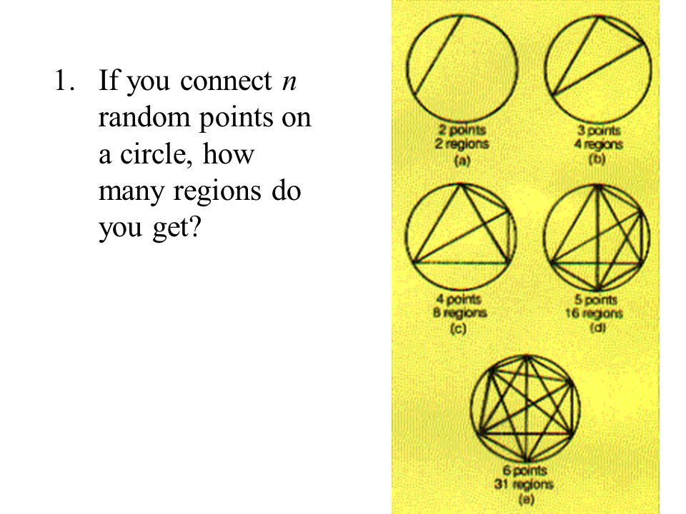 If you connect n random points on a circle, how many regions do you get