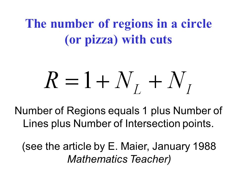 The number of regions in a circle (or pizza) with cuts