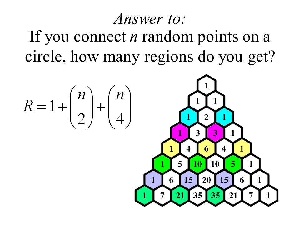 Answer to: If you connect n random points on a circle, how many regions do you get