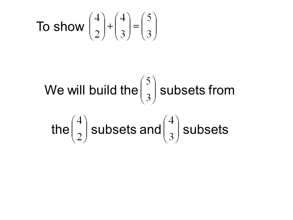 To show We will build the subsets from the subsets and subsets