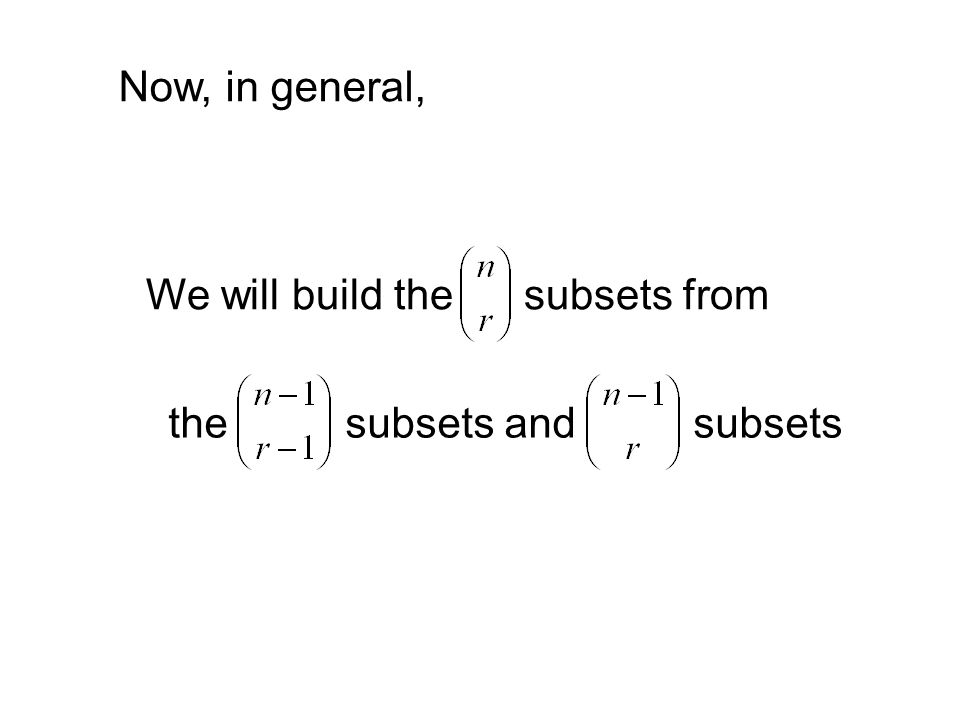 Now, in general, We will build the subsets from the subsets and subsets