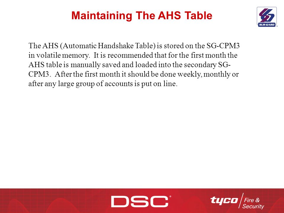 Maintaining The AHS Table