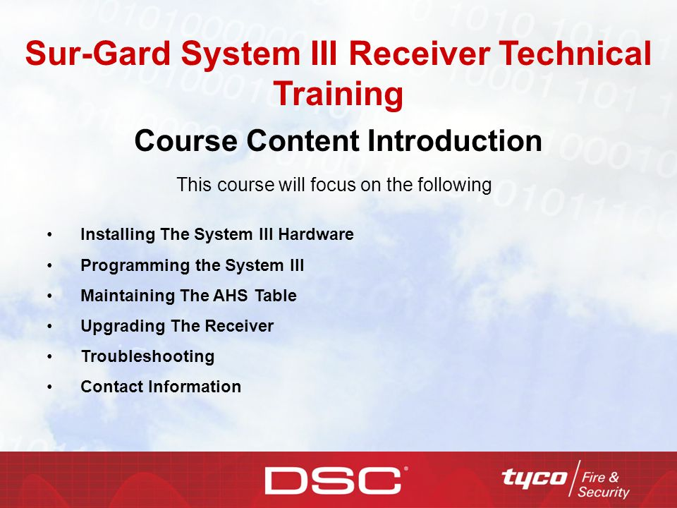 Sur-Gard System III Receiver Technical Training