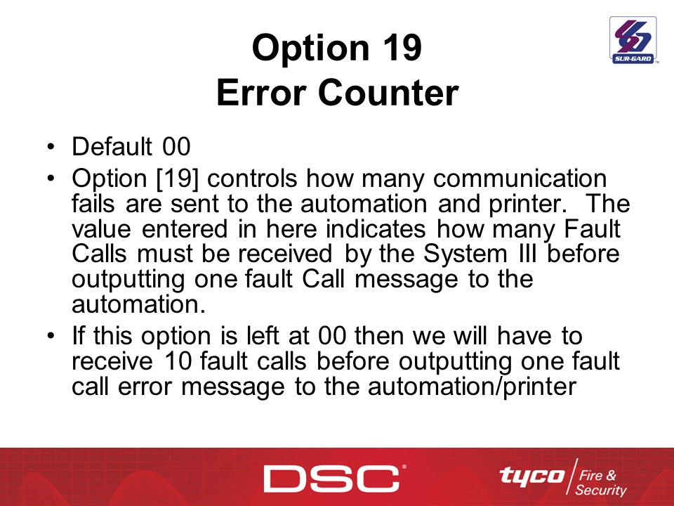 Option 19 Error Counter Default 00