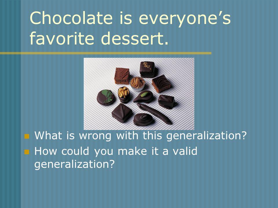 Chocolate is everyone's favorite dessert.