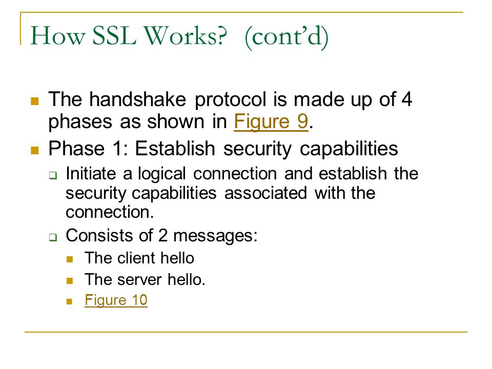 How SSL Works (cont'd) The handshake protocol is made up of 4 phases as shown in Figure 9. Phase 1: Establish security capabilities.