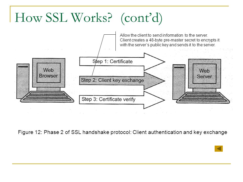 How SSL Works (cont'd) Allow the client to send information to the server.