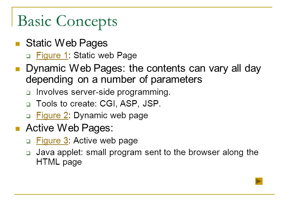 Basic Concepts Static Web Pages