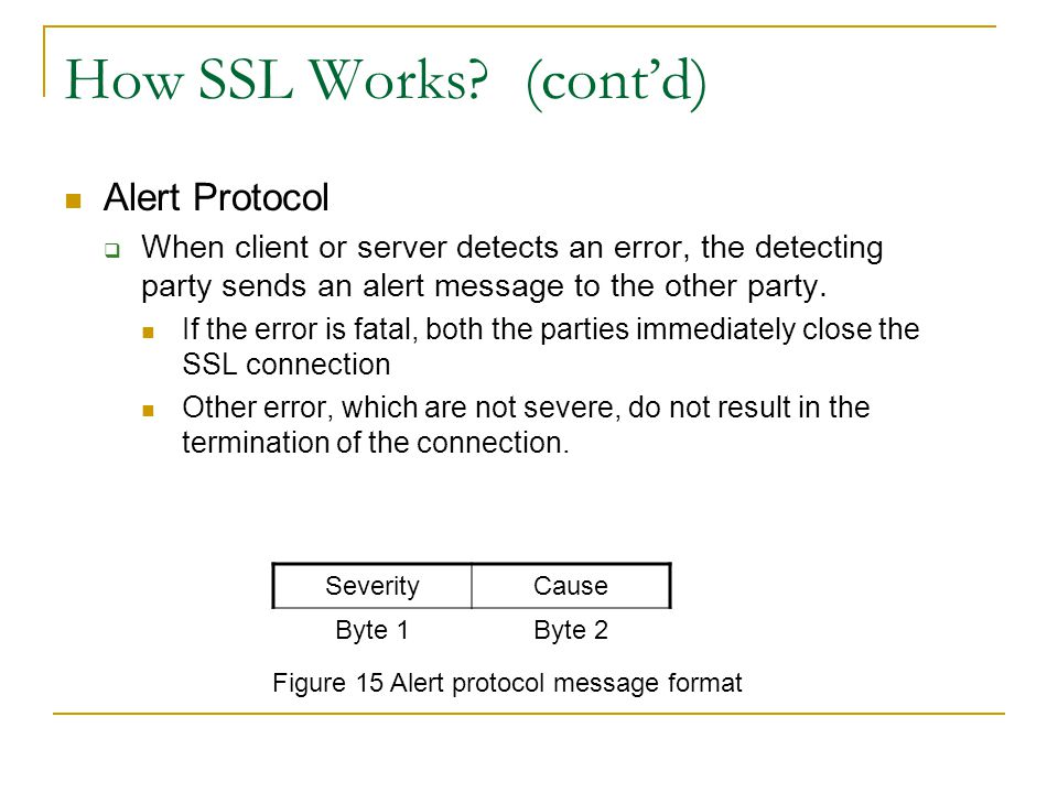 Figure 15 Alert protocol message format