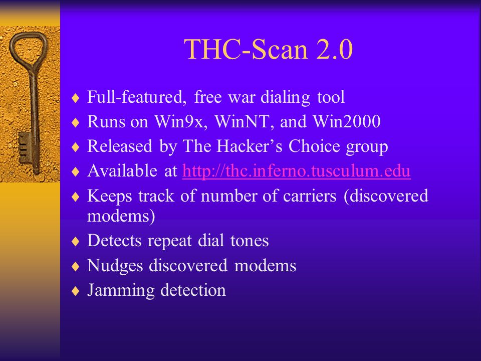 THC-Scan 2.0 Full-featured, free war dialing tool