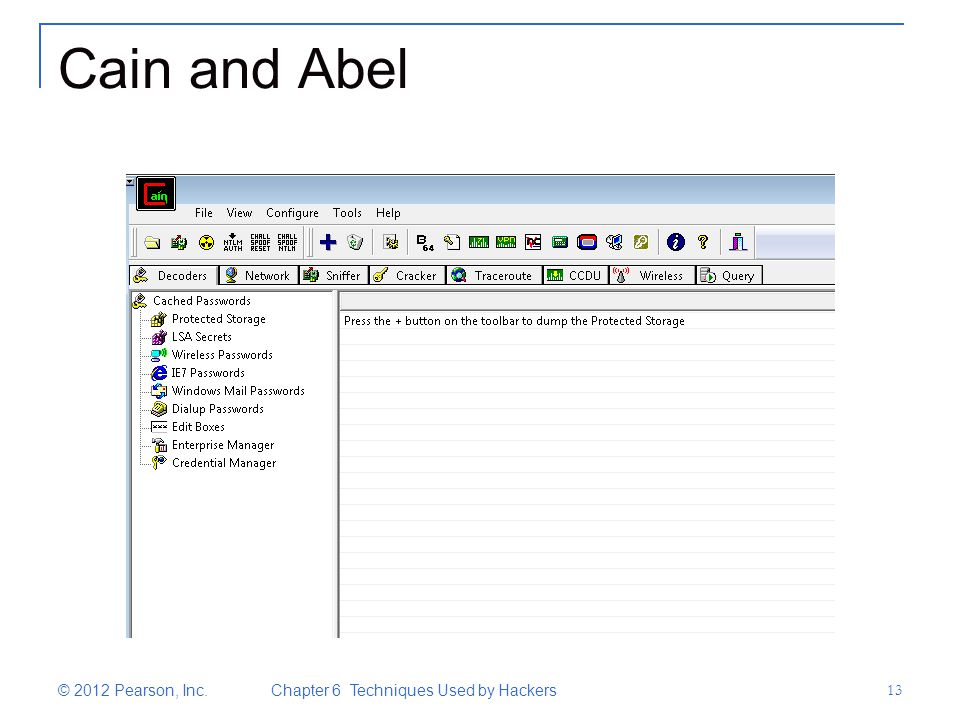 Cain and Abel © 2012 Pearson, Inc. Chapter 6 Techniques Used by Hackers