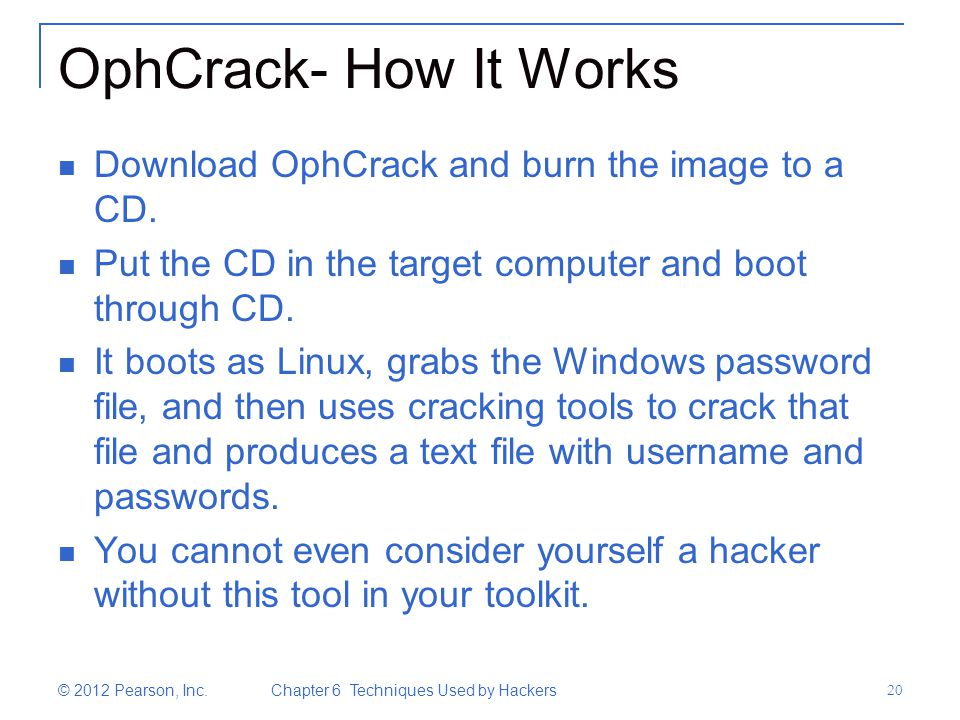 OphCrack- How It Works Download OphCrack and burn the image to a CD.