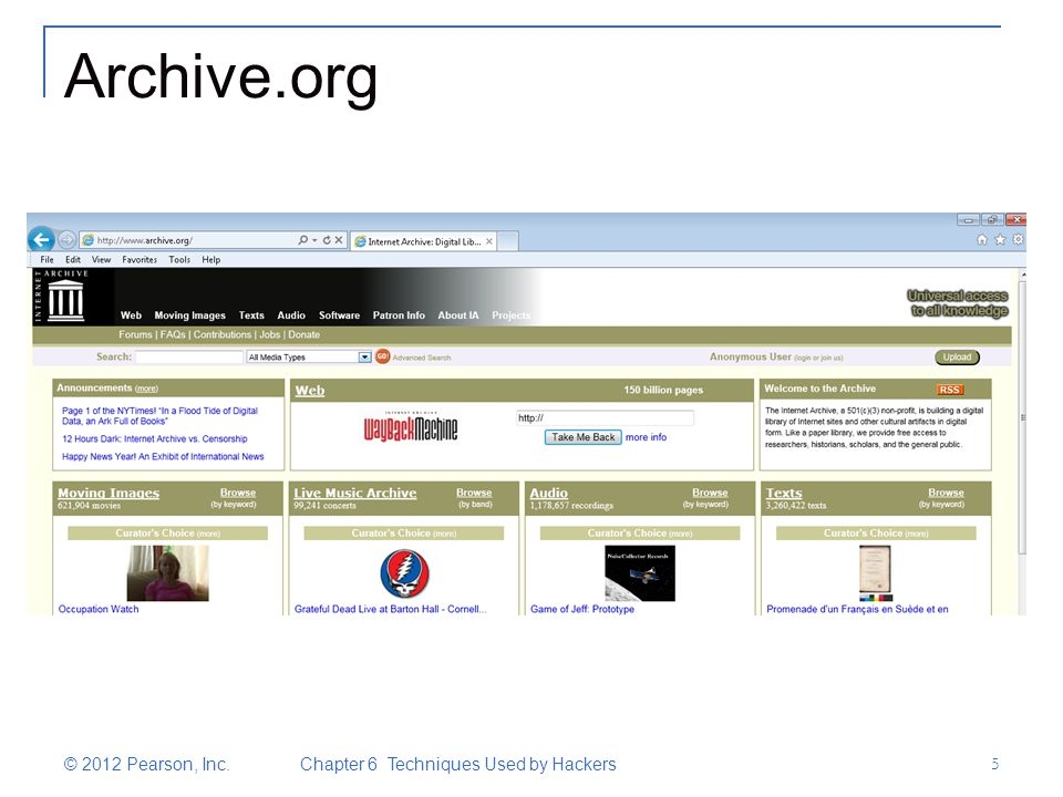 Archive.org © 2012 Pearson, Inc. Chapter 6 Techniques Used by Hackers