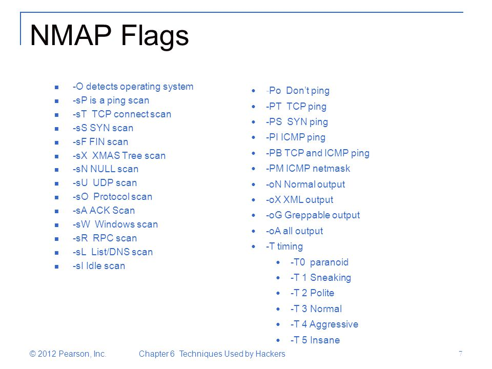 NMAP Flags -O detects operating system -sP is a ping scan