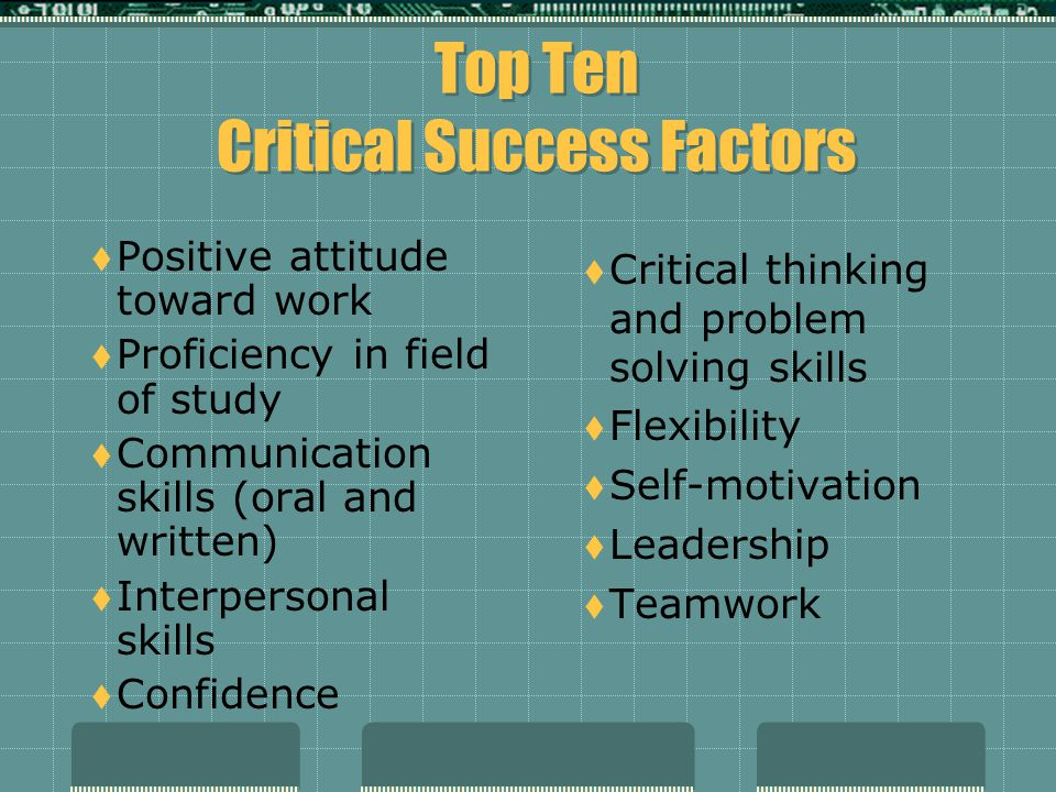 Top Ten Critical Success Factors