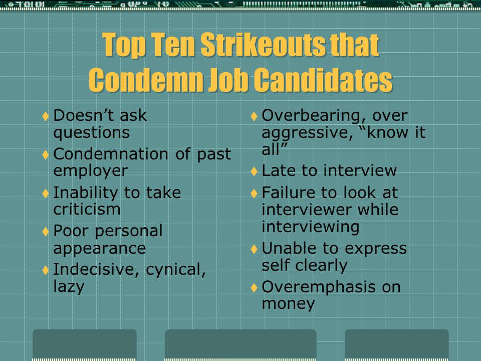 Top Ten Strikeouts that Condemn Job Candidates