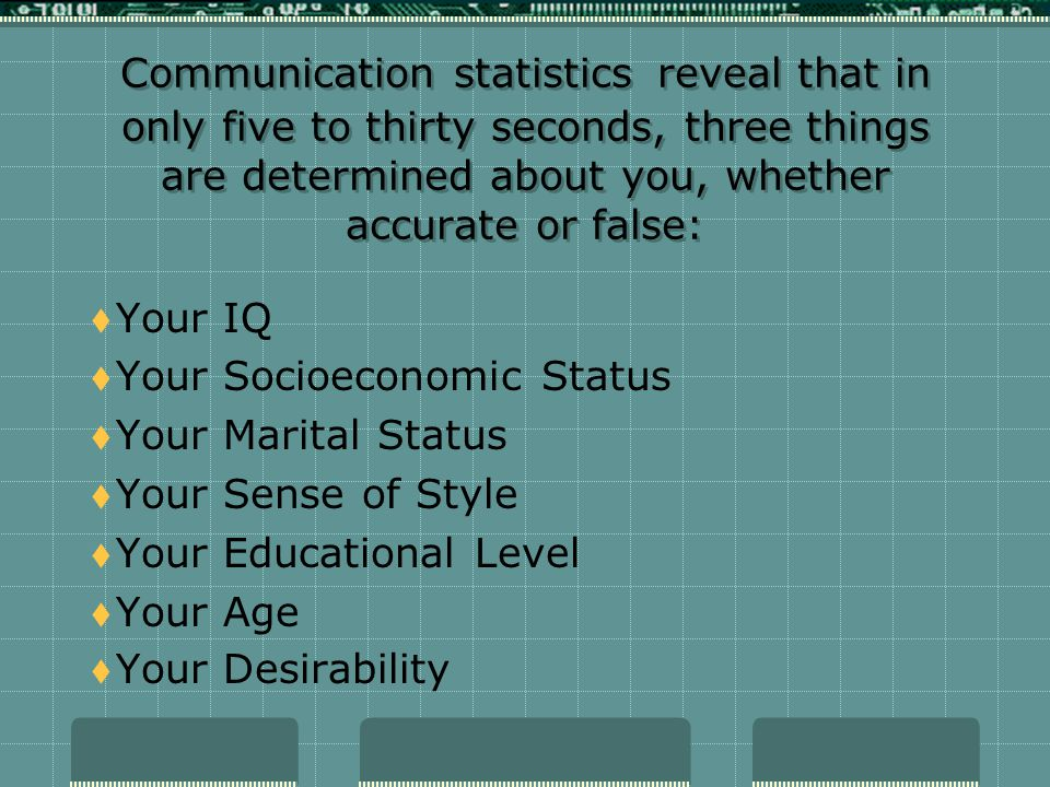 Communication statistics reveal that in only five to thirty seconds, three things are determined about you, whether accurate or false: