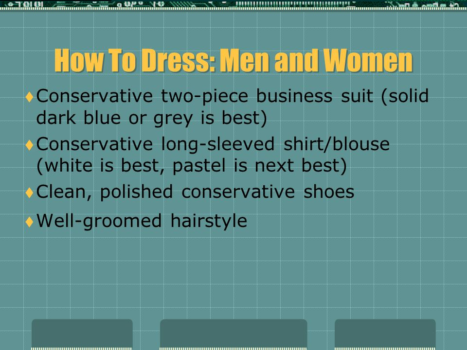 How To Dress: Men and Women