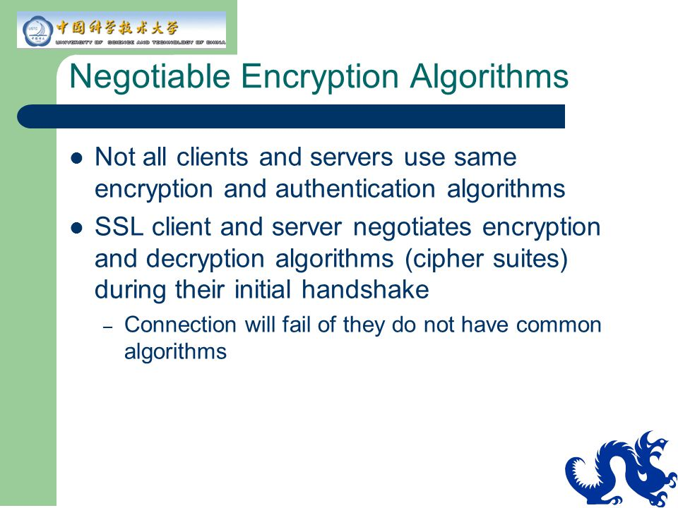 Negotiable Encryption Algorithms