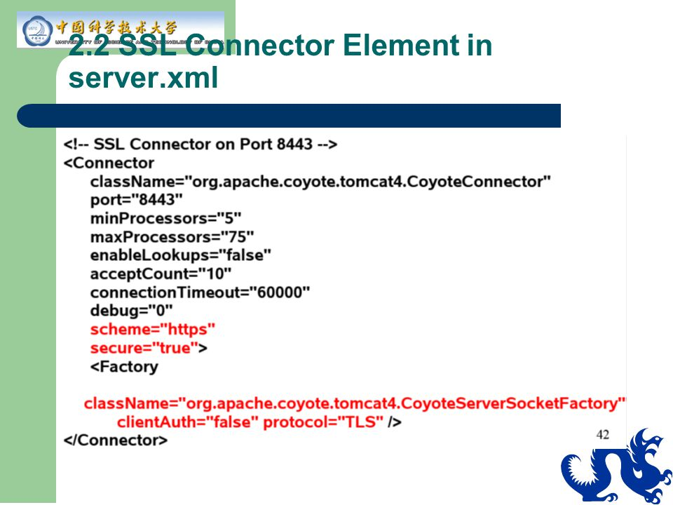 2.2 SSL Connector Element in server.xml