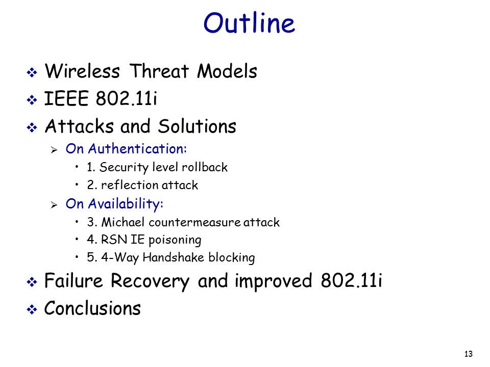 Outline Wireless Threat Models IEEE 802.11i Attacks and Solutions