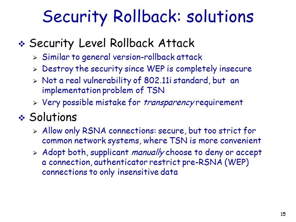 Security Rollback: solutions